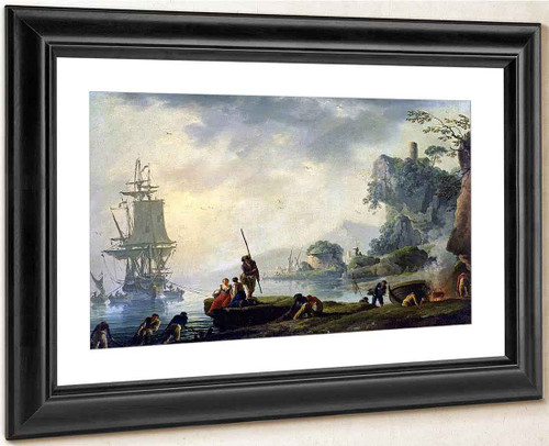 The Return Of The Fishermen In A Coastal Landscape By Claude Joseph Vernet