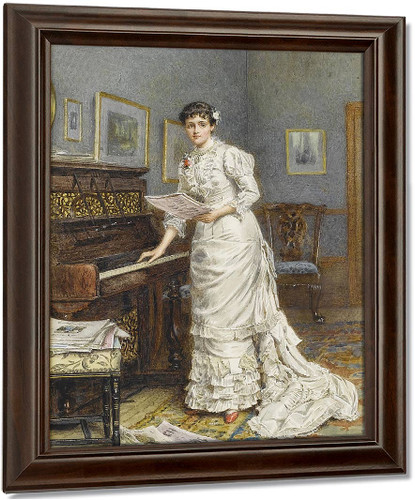 A Young Woman At The Piano By George Goodwin Kilburne