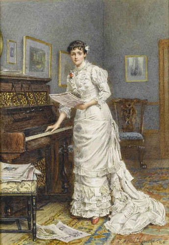 A Young Woman At The Piano By George Goodwin Kilburne By George Goodwin Kilburne