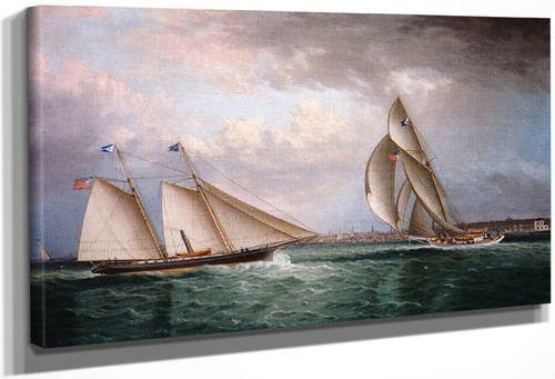 The Schooner Triton And The Sloop Christine Racing In Newport Harbor By James E. Buttersworth