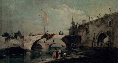 Town With A Bridge By Francesco Guardi