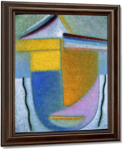 Abstract Head Winter Yellow And Orange By Alexei Jawlensky