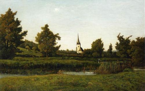 View Of A Village By Henri Joseph Harpignies, Aka Henri Harpignies