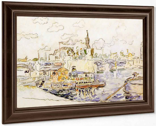 View Of Paris With The Statue Of Liberty By Paul Signac