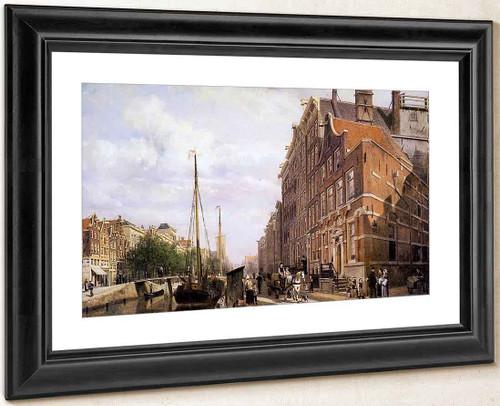 Voorburgwal In Amsterdam By Cornelius Springer