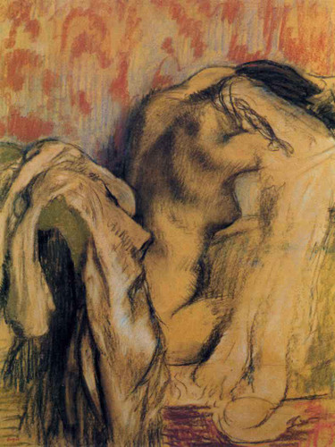 After Bathing, Woman Drying Herself By Edgar Degas