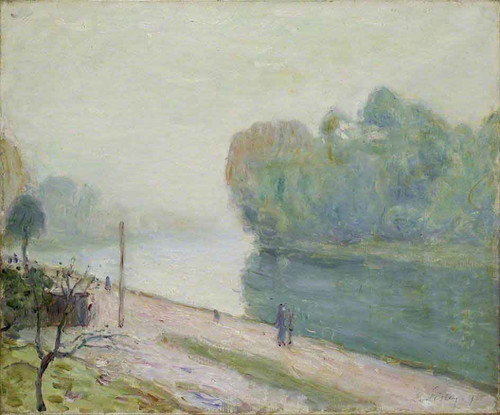 A Bend In The River Loing By Alfred Sisley