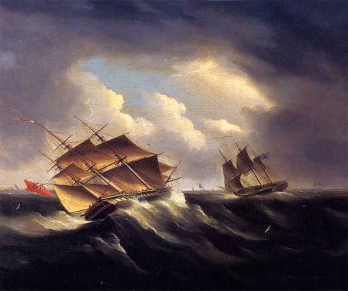 A British Frigate Approaching Another Vessel In A Heavy Sea By James E. Buttersworth By James E. Buttersworth