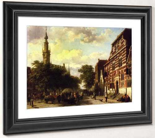 A Busy Market In Veere With The Clocktower Of The Town Hall Beyond By Cornelius Springer
