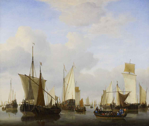 A Calm A State's Yacht, A Barge And Many Other Vessels Under Sail By Willem Van De Velde The Younger