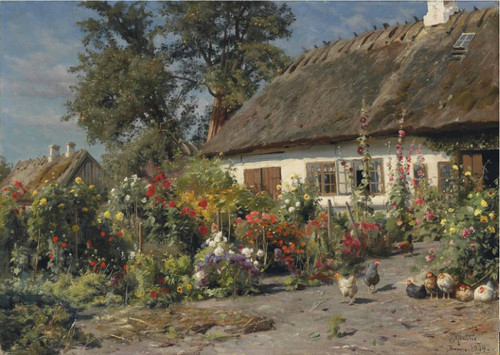 A Cottage Garden With Chickens By Peder Mork Monsted