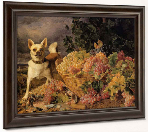 A Dog By A Basket Of Grapes In A Landscape By Ferdinand Georg Waldmåller