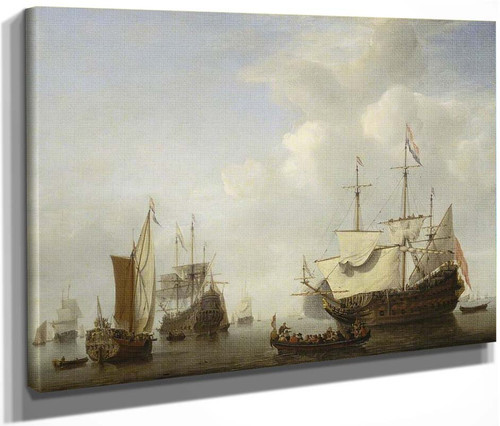 A Dutch Flagship Coming To Anchor With A States Yacht Before A Light Air By Willem Van De Velde The Younger