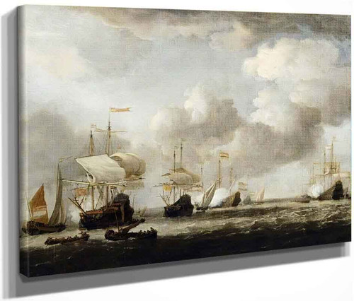 A Dutch Fleet Coming To Anchor In A Breeze By Willem Van De Velde The Younger