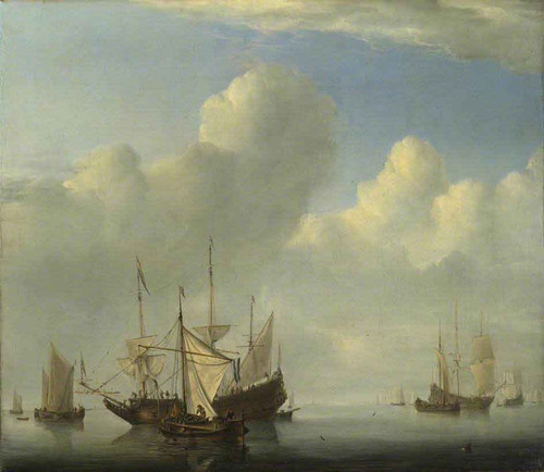 A Dutch Ship Coming To Anchor And Another Under Sail By Willem Van De Velde The Younger
