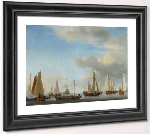 A Dutch State Barge Under Oars With Bezan Yachts Under Sail By Willem Van De Velde The Younger