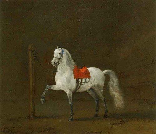 A Grey Horse In A Stable By Philips Wouwerman Dutch 1619 1668