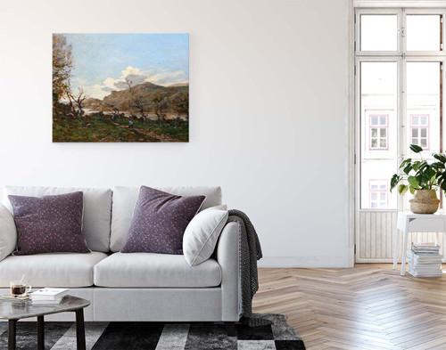 A Hilly Landscape By Henri Joseph Harpignies, Aka Henri Harpignies