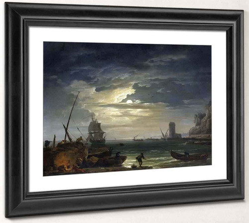 A Mediterranean Inlet By Moonlight By Claude Joseph Vernet