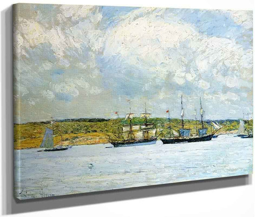 A Parade Of Boats By Frederick Childe Hassam  By Frederick Childe Hassam