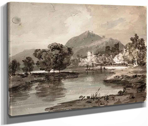 A River With A Ruined Castle Among Trees And A Mountain Beyond By Joseph Mallord William Turner