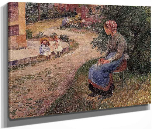 A Servant Seated In The Garden At Eragny By Camille Pissarro By Camille Pissarro