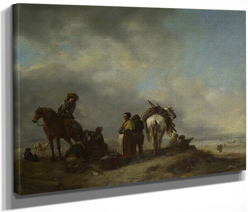 A View On A Seashore With Fishwives Offering Fish To A Horseman By Philips Wouwerman Dutch 1619 1668