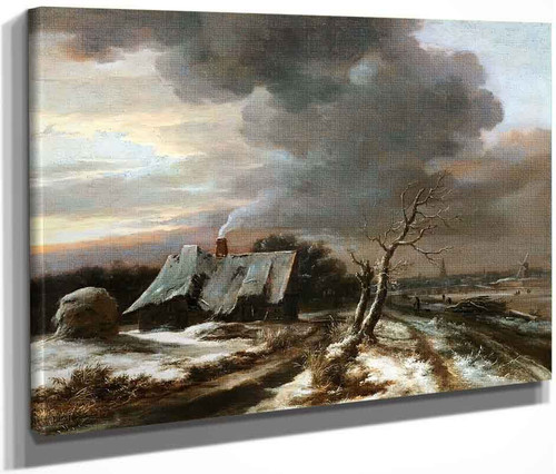 A Winter Landscape With A View Of The River Amstel And Amsterdam In The Distance By Jacob Van Ruisdael
