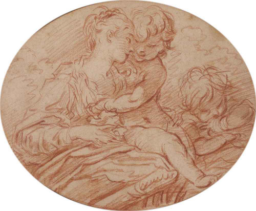 A Woman With Two Putti By Francois Boucher