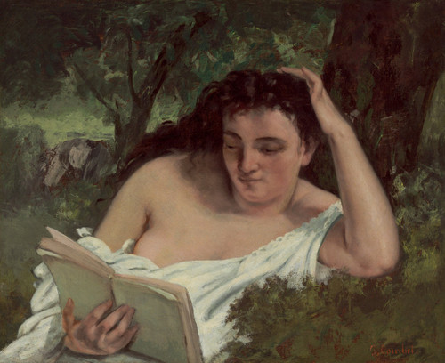 A Young Woman Reading By Gustave Courbet By Gustave Courbet