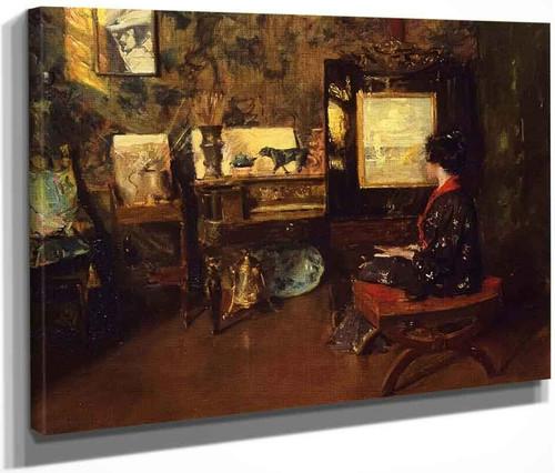 Alice In The Shinnecock Studio By William Merritt Chase By William Merritt Chase