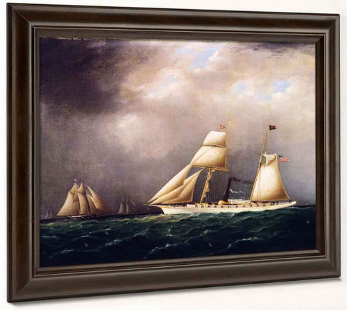 American Steam Sail Yacht Emily At Sea With Four Schooners Off Bow By James E. Buttersworth By James E. Buttersworth