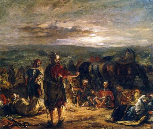 An Arab Camp At Night By Eugene Delacroix By Eugene Delacroix