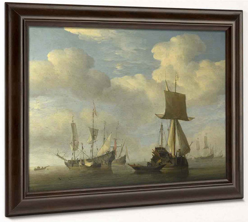 An English Vessel And Dutch Ships Becalmed By Willem Van De Velde The Younger