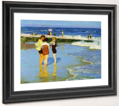 At Rockaway Beach By Edward Potthast By Edward Potthast