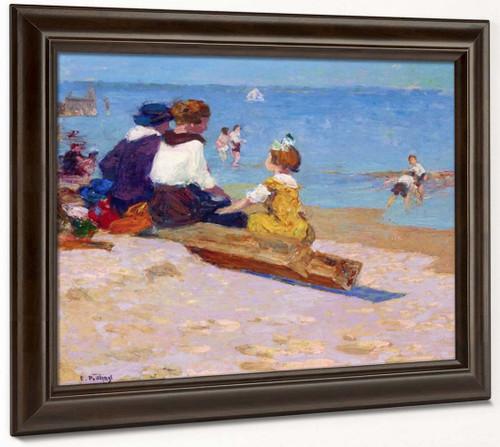 At The Beach By Edward Potthast By Edward Potthast