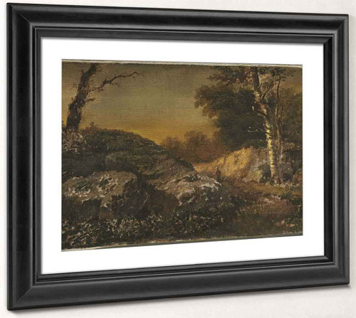 Autumn Landscape With Man Fishing By William Morris Hunt  By William Morris Hunt