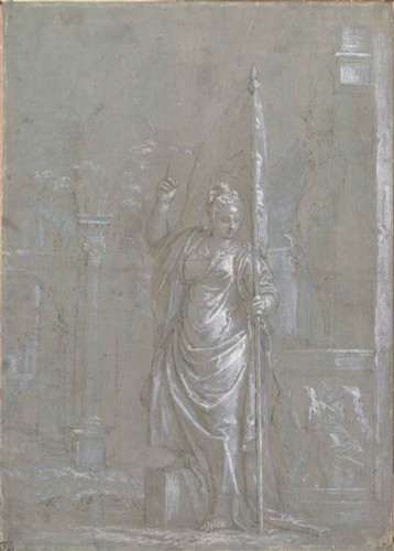 Allegoric Figure Holding A Banner By Paolo Veronese