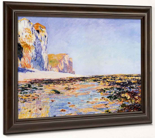 Beach And Cliffs At Pourville, Morning Effect By Claude Oscar Monet