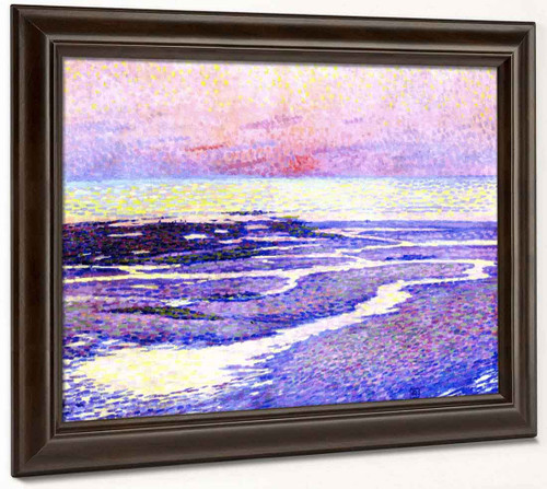 Beach At Low Tide Evening By Theo Van Rysselberghe
