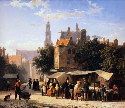 Bookstall On The Noordermarket By Cornelius Springer