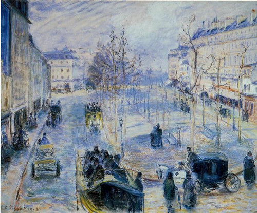 Boulevard De Clichy, Winter, Sunlight Effect By Camille Pissarro By Camille Pissarro