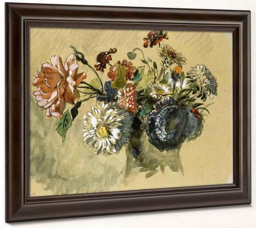 Bouquet Of Flowers1 By Eugene Delacroix By Eugene Delacroix