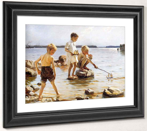 Boys Playing At The Beach By Albert Edelfelt