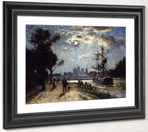 Caen, Le Long De L'orne Peint Depuis Le Cours Caffarelli, Effet De Lune By Stanislas Lepine