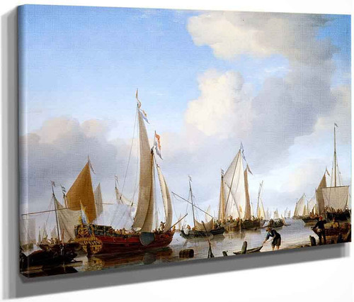 Calm, A States Yacht Under Sail Close To The Shore With Many Other Vessels By Willem Van De Velde The Younger