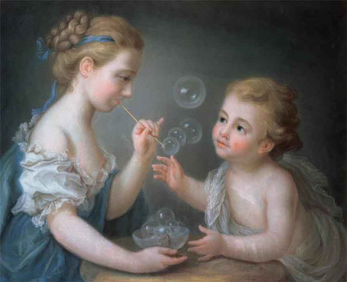 Children Blowing Bubbles By Jean Etienne Liotard