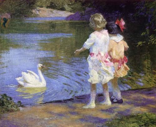 Children With A Swan By Edward Potthast By Edward Potthast