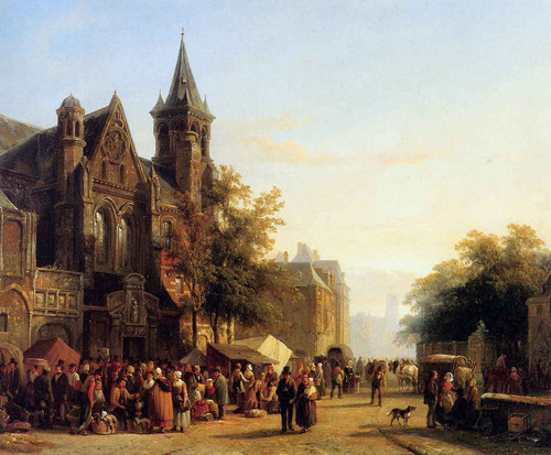City View With Figures By Cornelius Springer