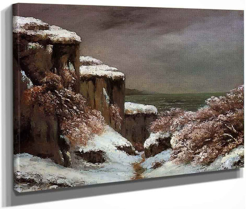 Cliffs By The Sea In The Snow By Gustave Courbet By Gustave Courbet
